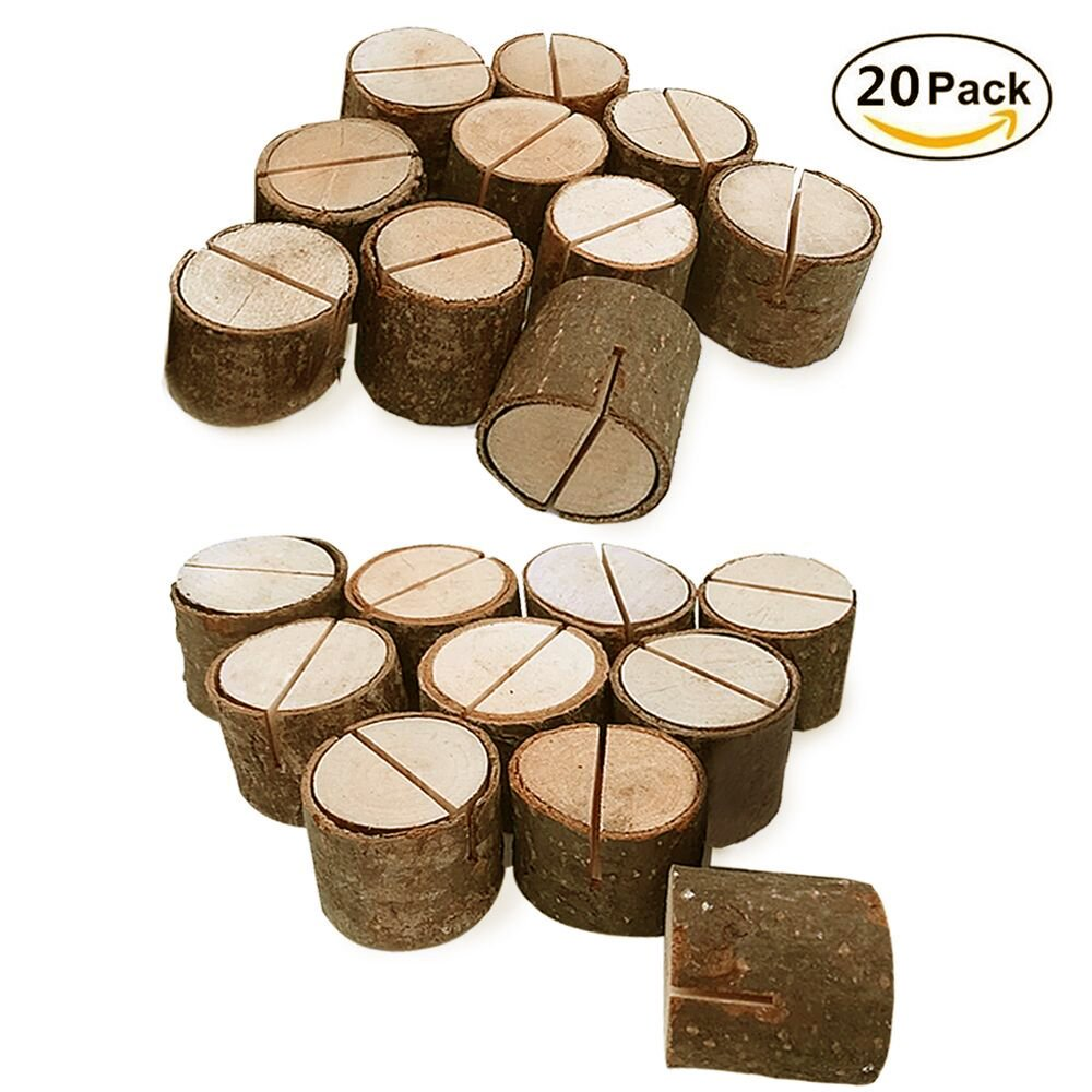Rustic Wood Table Numbers Holder Wood Place Card Holder Picture Memo Note Photo Clip Holder Party Decorations Wedding Table Name Card Holder Message Clip (20PCS)