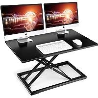 "SIMBR Standing Desk Converter, 32"" Height Adjustable Stand Up Desk Converter Gas Spring Desk Riser Converter Sit to…"