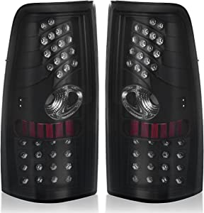 AUTOSAVER88 LED Tail Lights Compatible with Chevy Silverado 1999 2000 2001 2002 2003 2004 2005 2006, Tail Lamps for GMC Sierra 1999-2003 Black Smoke Replacement Assembly (FIT FLEETSIDE MODELS ONLY)