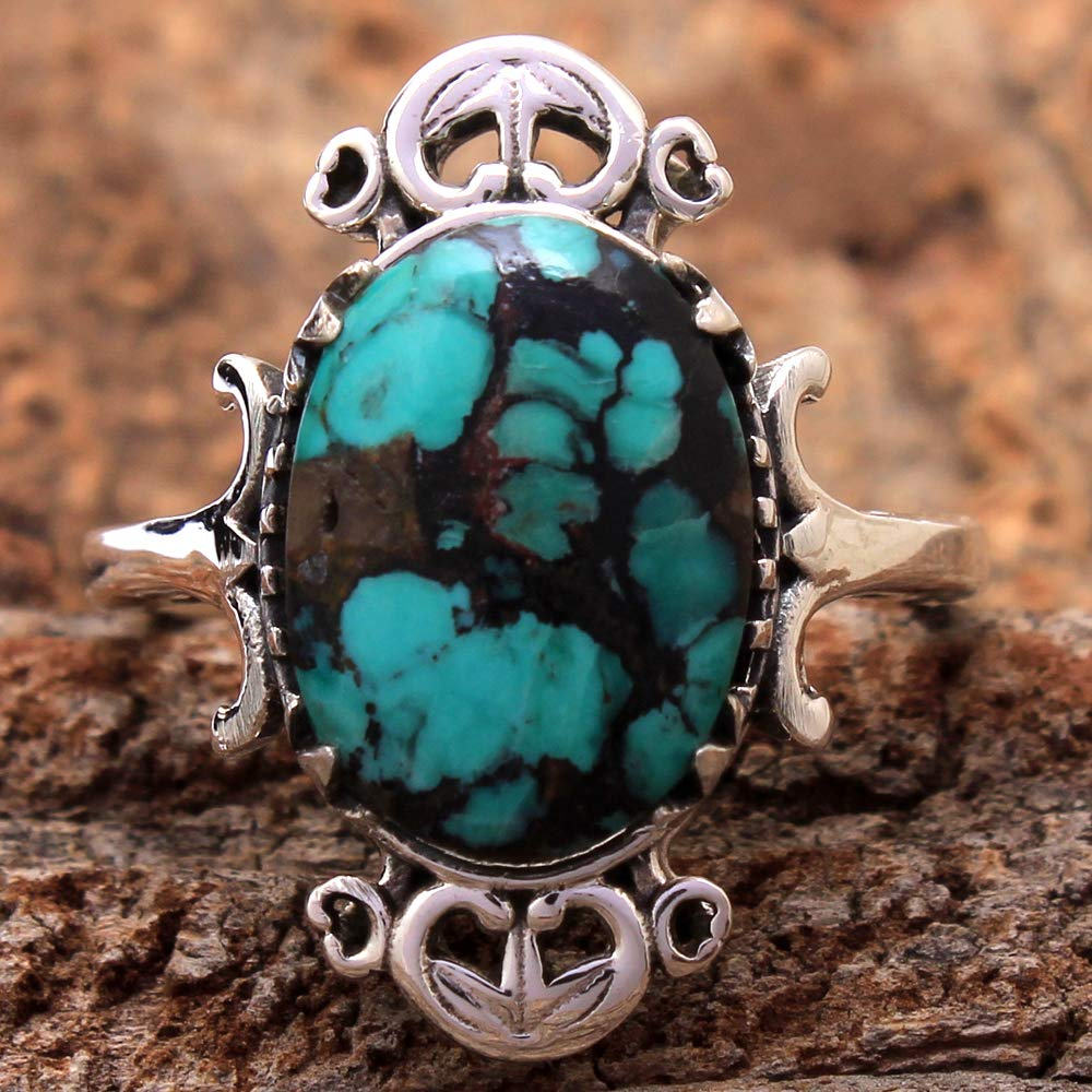 Details about  /Turquoise Silver Ring,Gift Idea,Fashion,Round,Birthday,Vintage,Birthday Gift