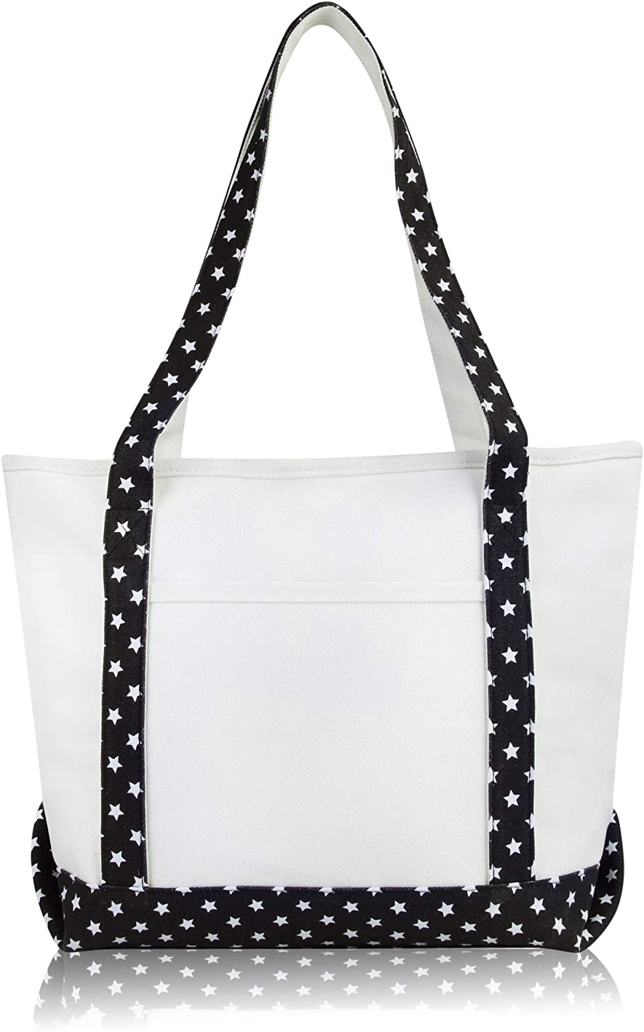 DALIX Daily Shoulder Tote Bag Premium Cotton in Black Star