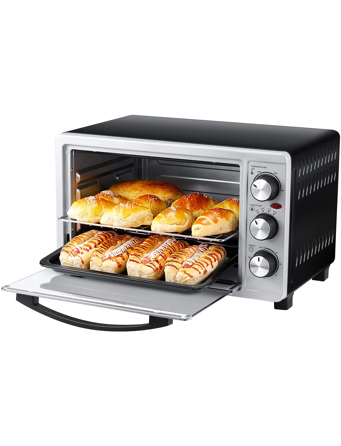 Toaster Oven 6 Slice Oven Toaster SpeedBaking, for Toast/Bake/Broil Function with 4 Heating Elements Intuitive Easy-Reach Toaster Oven Broiler Stainless Steel Toaster Oven