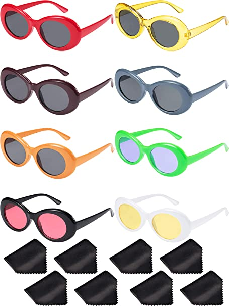 05b371335a1 Image Unavailable. Image not available for. Color  Gejoy 8 Pairs of Clout  Oval Goggles Retro Kurt Mod Thick Frame ...