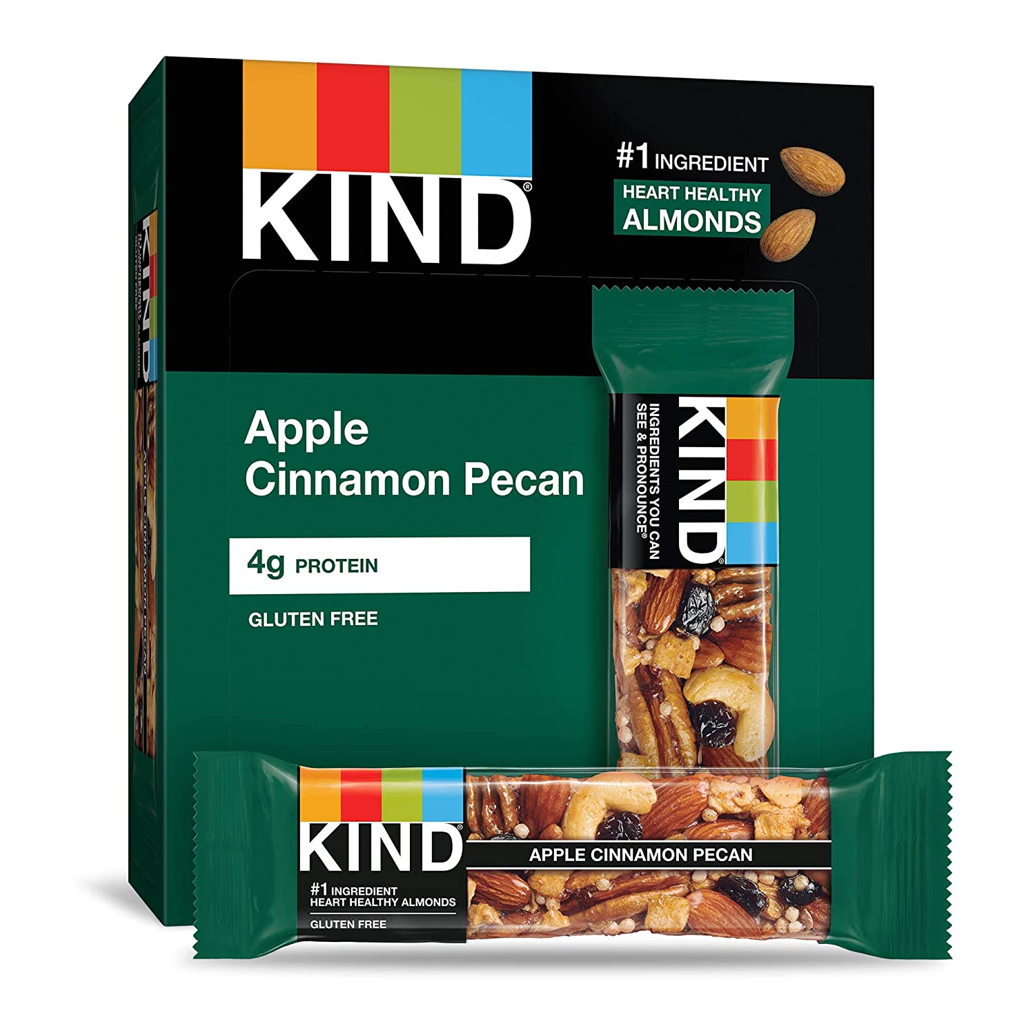 KIND Bars, Apple Cinnamon & Pecan, Gluten Free, 1.4 Ounce Bars, 12 Count (Packaging May Vary)