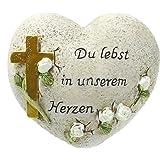 """Herz mit Kreuz """"Du lebst in unserem Herzen"""""""