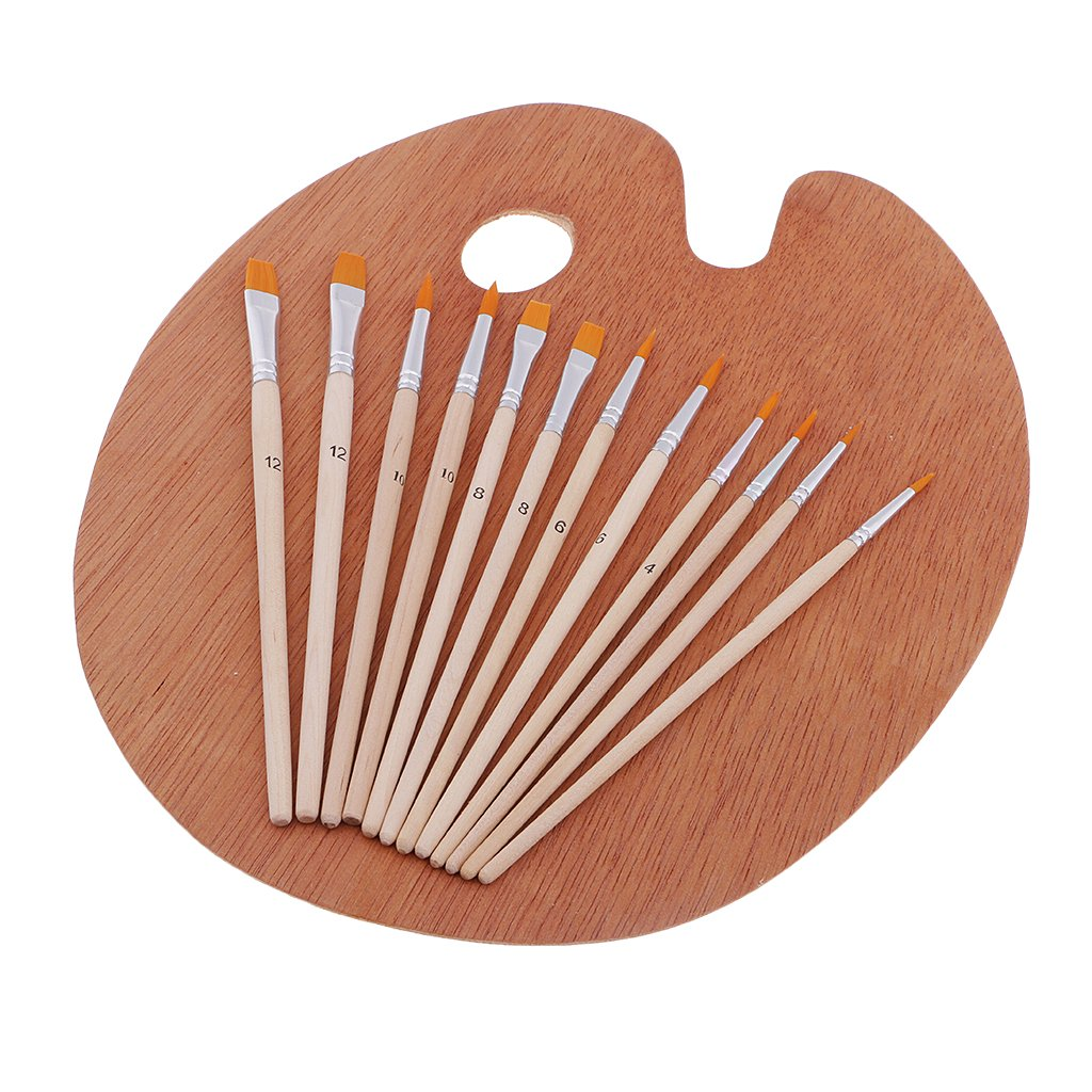 100 Piece Wood Nylon Hair Painting Brush for Watercolor Acrylic Oil Painting