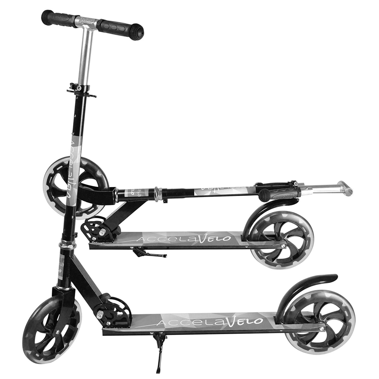 AccelaVelo Black Adult Kick Scooter