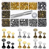 Paxcoo 480 Sets 3 Sizes Leather Rivets Double Cap Rivet Tubular Metal Studs with 3 Pieces Setting Tool Kit for Leather…