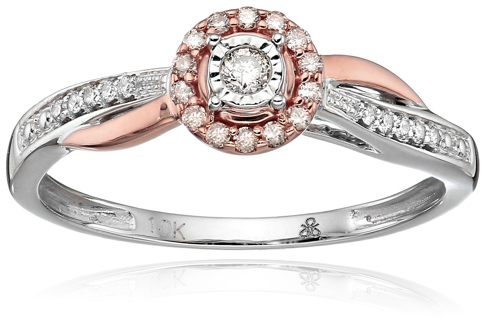 10k White And Rose Gold Round-Cut Diamond Promise Ring, Size 6