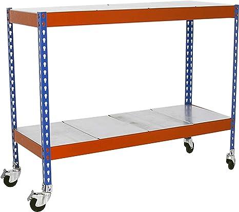 Estantería metálica para taller con bandejas de metal y ruedas ...
