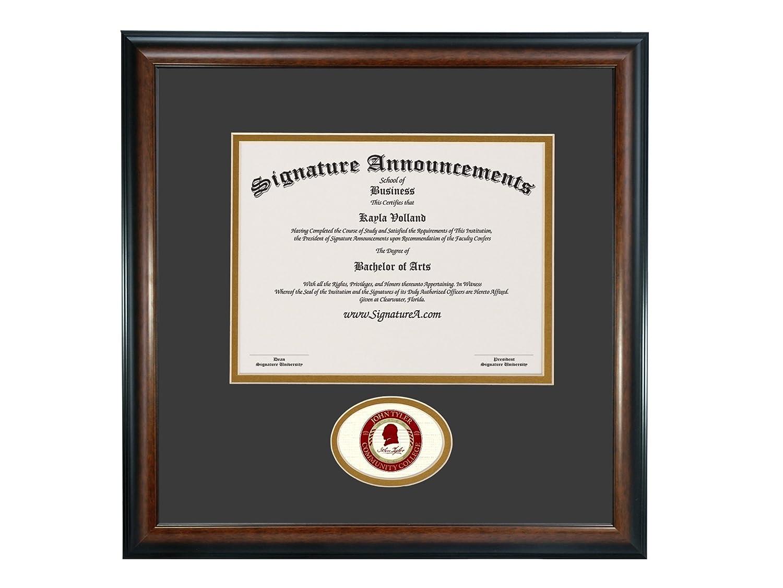 Signature Announcements John-Tyler-Community-College Undergraduate Professional//Doctor Sculpted Foil Seal Graduation Diploma Frame 16 x 16 Matte Mahogany