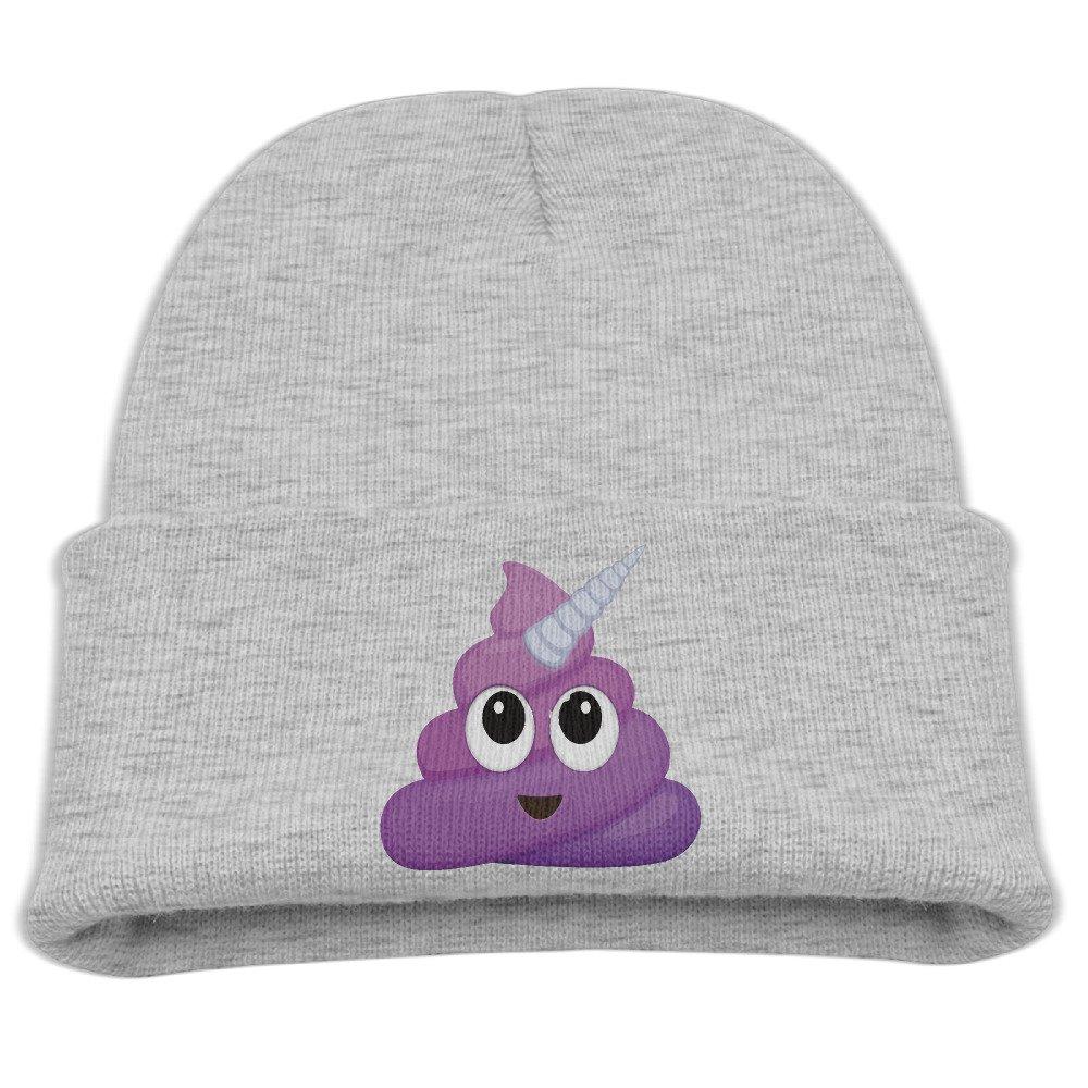 Children Kids Purple Unicorn Poop Emoji Warm Winter Knited Cap