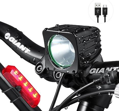 Juego de luz para bicicleta – Super claro 1200 lúmenes LED Faro ...