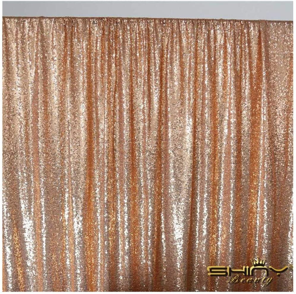4FTX6FT-Rose Gold-Sequin Photo Backdrop, Wedding Photo Booth,Photography Background (Rose Gold)