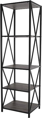 Zenvida Bookshelf 5-Tier Industrial Metal Wood Modern Etagere Tall Bookcase Open Display Shelves Organizer