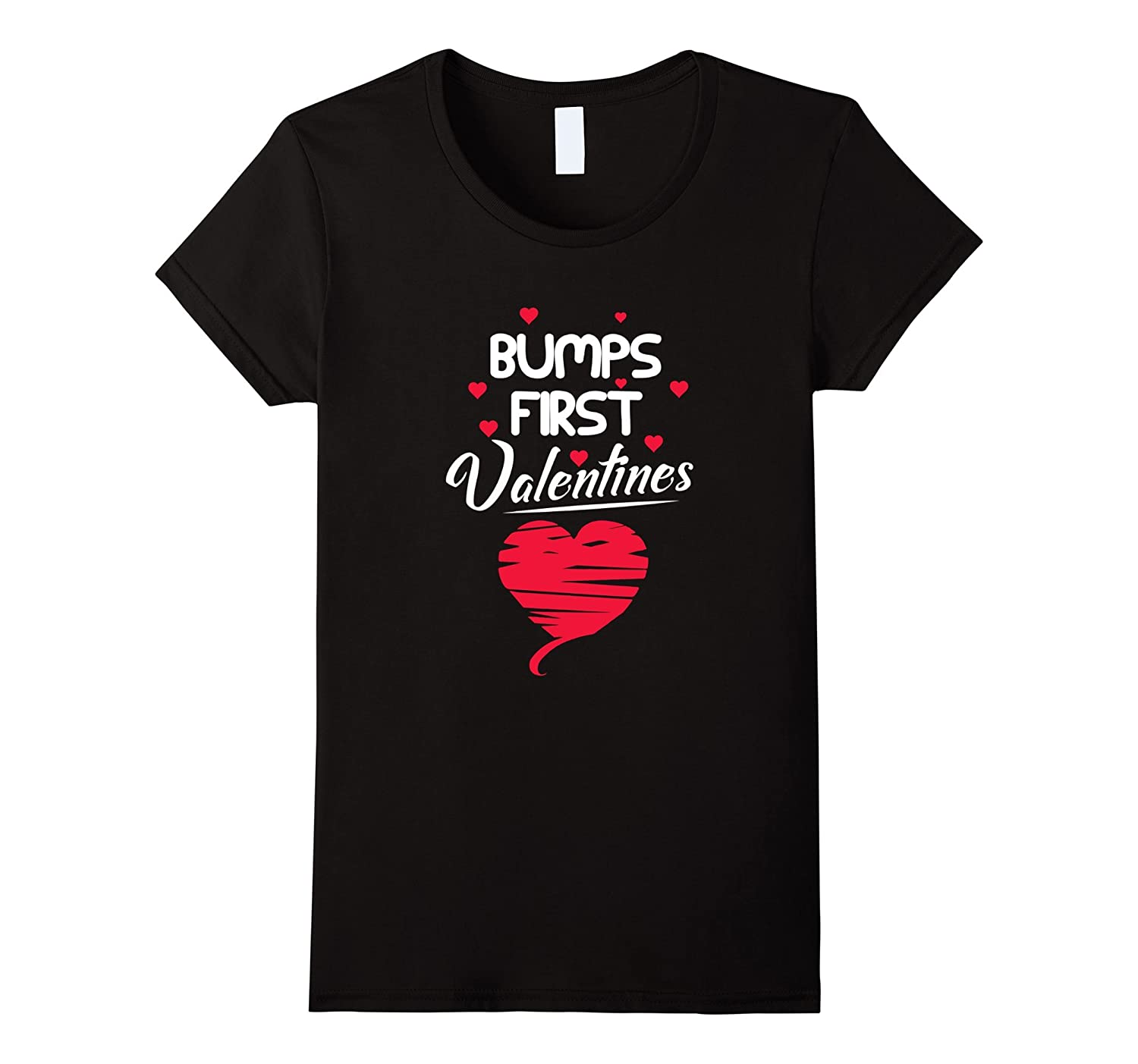 Women's Bump's First Valentines Funny Pregnancy Maternity Tee Shirt-CL