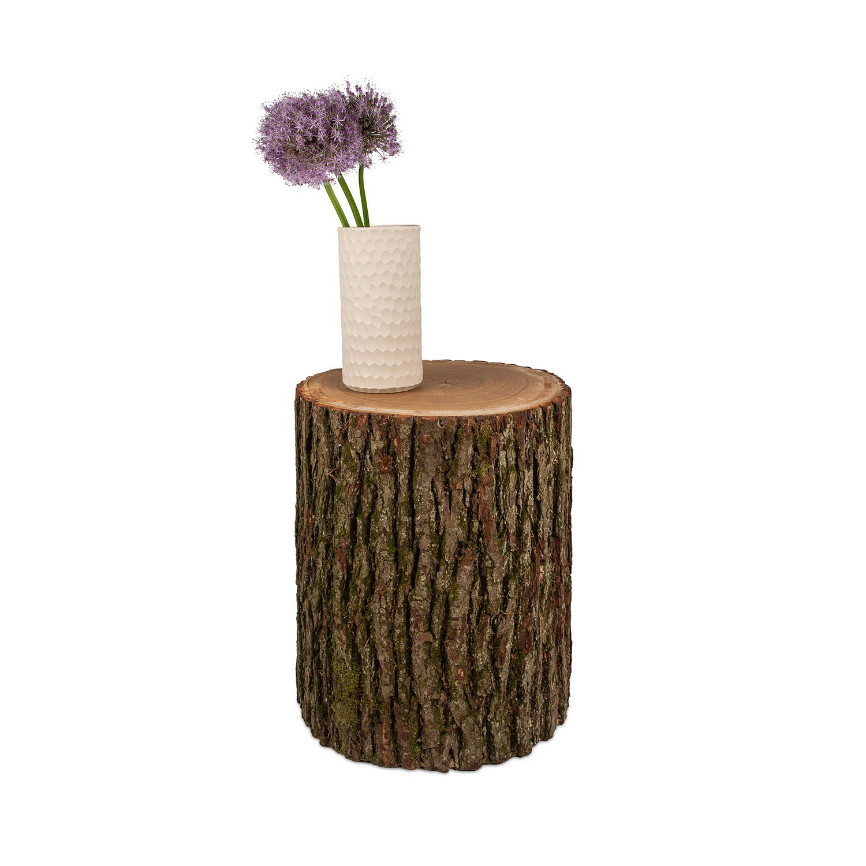 Berühmt Beistelltisch Baumstamm Eiche mit Rinde, in Handarbeit gefertigt @YW_03