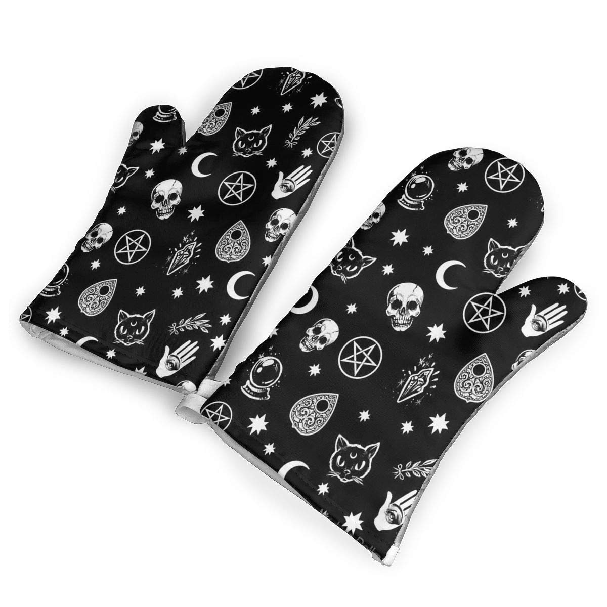 Colorful Skull Cat Moon Gothic Pattern.jpg Heat Resistant to 500?? F,1 Pair of Non-Slip Kitchen Oven Gloves for Cooking,Baking,Grilling,Barbecue Potholders Oven Mitts Set
