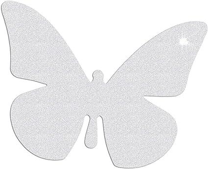 Reflektor Aufkleber Schmetterling Reflexfolie Sticker Reflektierend Silberweiß Sport Freizeit