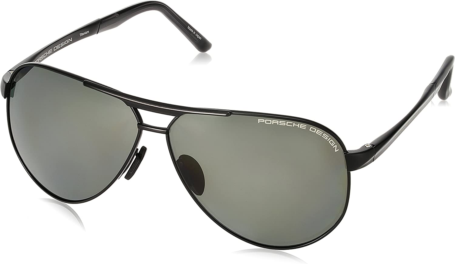 PORSCHE DESIGN EYEWEAR AVIATOR SUNGLASSES MATTE GOLD SOLID GREY GREEN P8629 B