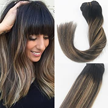14 Inch Brunette Balayage Ombre Clip In Hair Extensions Dark Brown