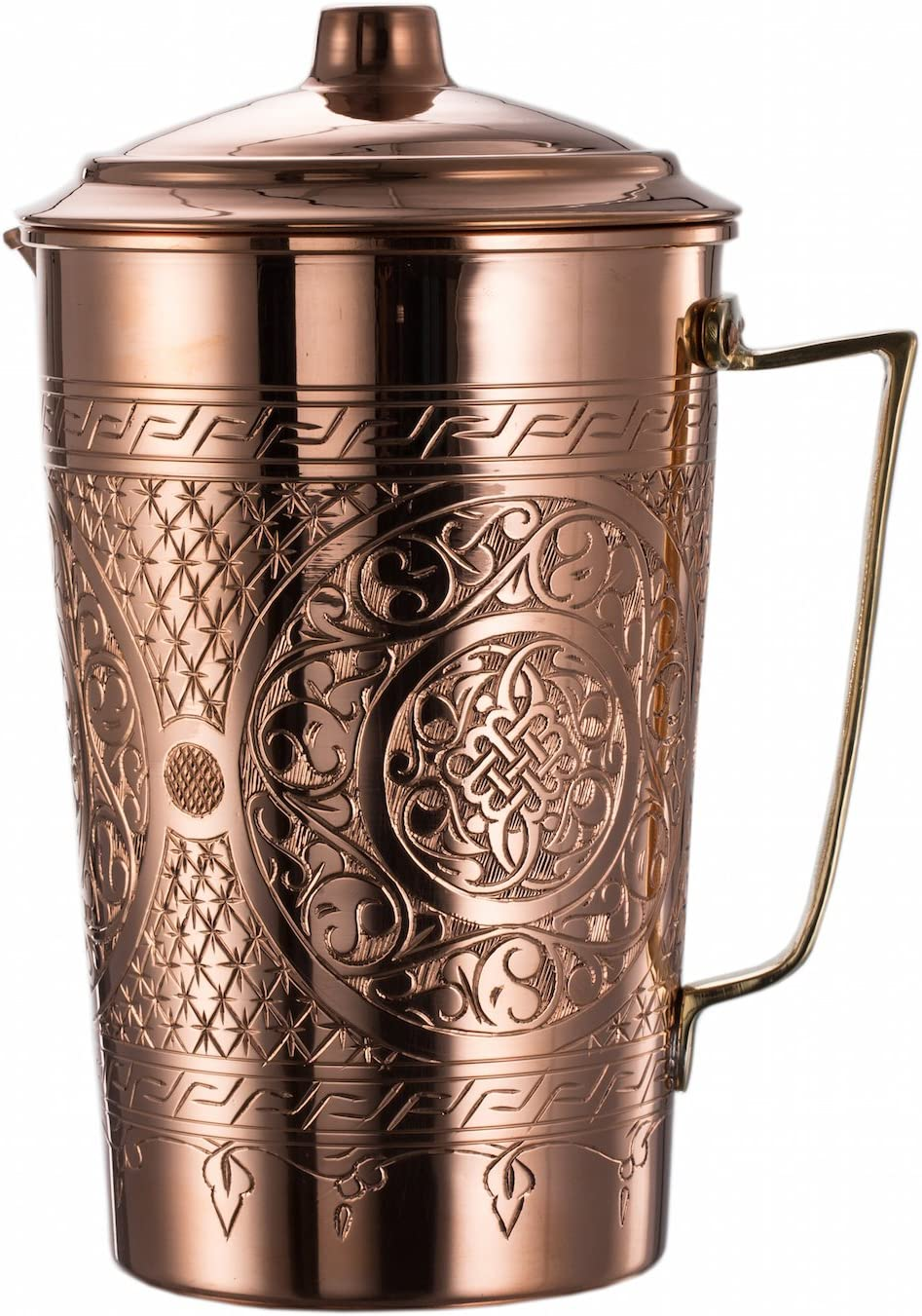 New CopperBull 2017 Heavy Gauge 1mm Solid Hammered Copper Water Moscow Mule Serving Pitcher Jug with Lid, 2.2-Quart (Engraved Copper)