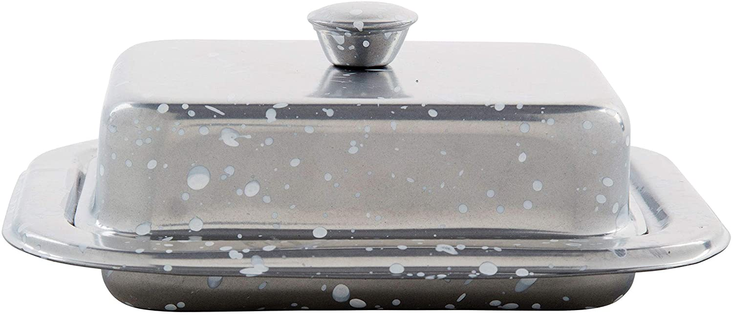 Palais Essentials Stainless Steel Covered Butter Dish Blue Speckled