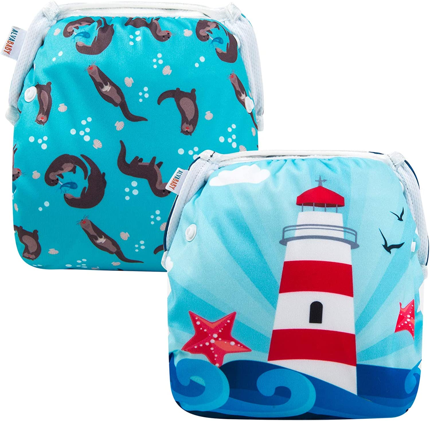 ALVABABY Swim Diapers Reuseable Washable Adjustable 2 PCS Pack One Size