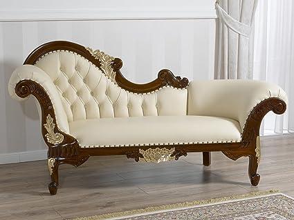 Divano dormeuse chaise longue stile Barocco Inglese noce particolari ...