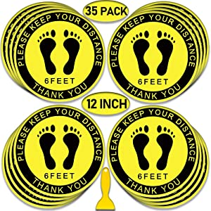 "Social Distancing Floor Decals, 12"" Round Vinyl Removable Stickers,35 Pack Safety Floor Sign Marker, Please Keep 6 Feet Apart Decal, Crowd Control for Guidance, Grocery, Pharmacy, Bank, Lab.Yellow"