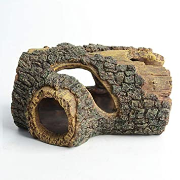 Hygger Cueva Acuario, Resina Hueco árbol Tronco decoración simulación Madera decoración Tronco de Resina Madera