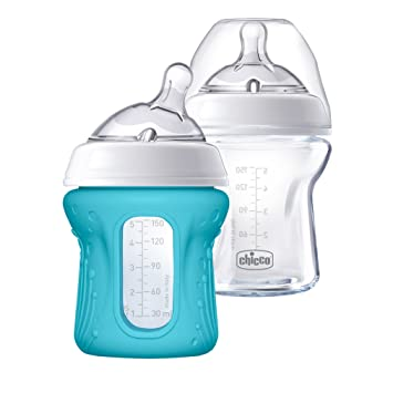fa5d62037 Amazon.com : Chicco NaturalFit Glass Baby Bottle 2 Pack, 0m+ Slow Flow,  with Bonus Silicone Sleeve : Baby