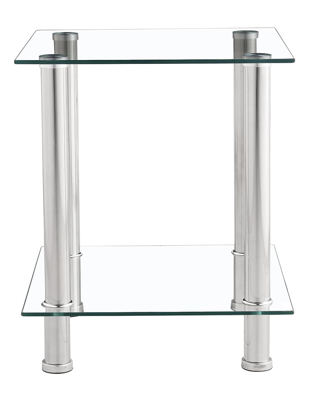 Tavolino da salotto in cristallo trasparente con 2 ripiani laterali e struttura cromata Home tree furniture
