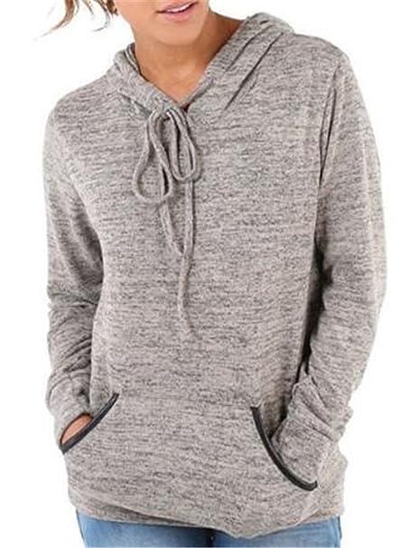 f1895b65b1039 AILIENT Mujeres Camiseta Con Manga Larga Camisa Blusa Ocasionales Pullover  Con Bolsillo Sudadera Con Capucha Deportivo  Amazon.es  Ropa y accesorios