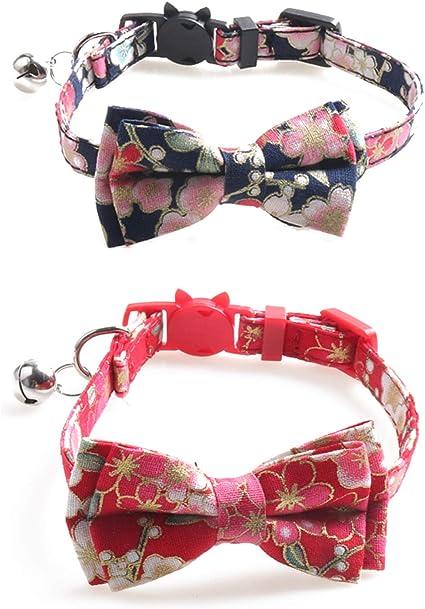 Mcdobexy Adjustable Cat Dog Breakaway Collar with Bell 5pcs//Set