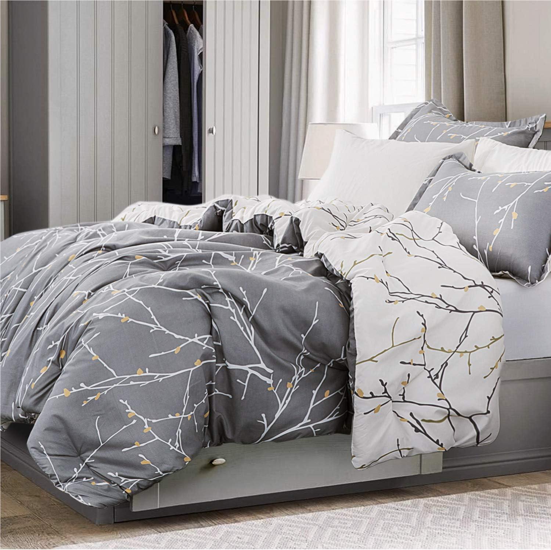 Bedsure Tree Branch Floral Comforter Set Queen Size Grey/Ivory - Down Alternative Comforter Microfiber Duvet - 3 Piece (1 Comforter + 2 Pillow Shams)