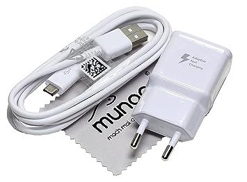 Cargador para Original Flash rápido Samsung 2A USB + 1,5 m Cable de carga de datos para Samsung Galaxy S6 (G920F) con mungoo pantalla paño de limpieza