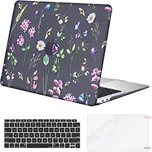 MOSISO MacBook Air 13 inch Case 2020 2019 2018 Release A2179 A1932 Retina Display, Plastic Pattern Hard Shell & Keyboard Cover & Screen Protector Only Compatible with MacBook Air 13,Black Bee & Floral