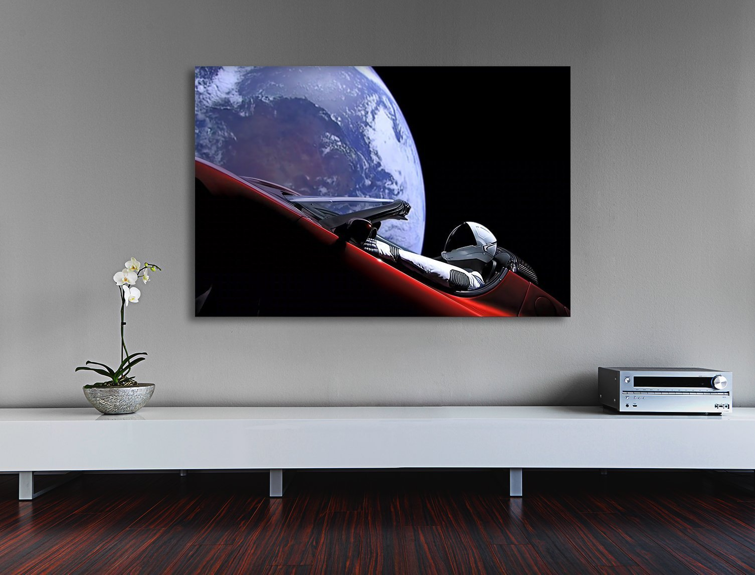 HIGH QUALITY, remastered Tesla in space, Launch of Falcon Heavy 2018 Space X photography canvas print