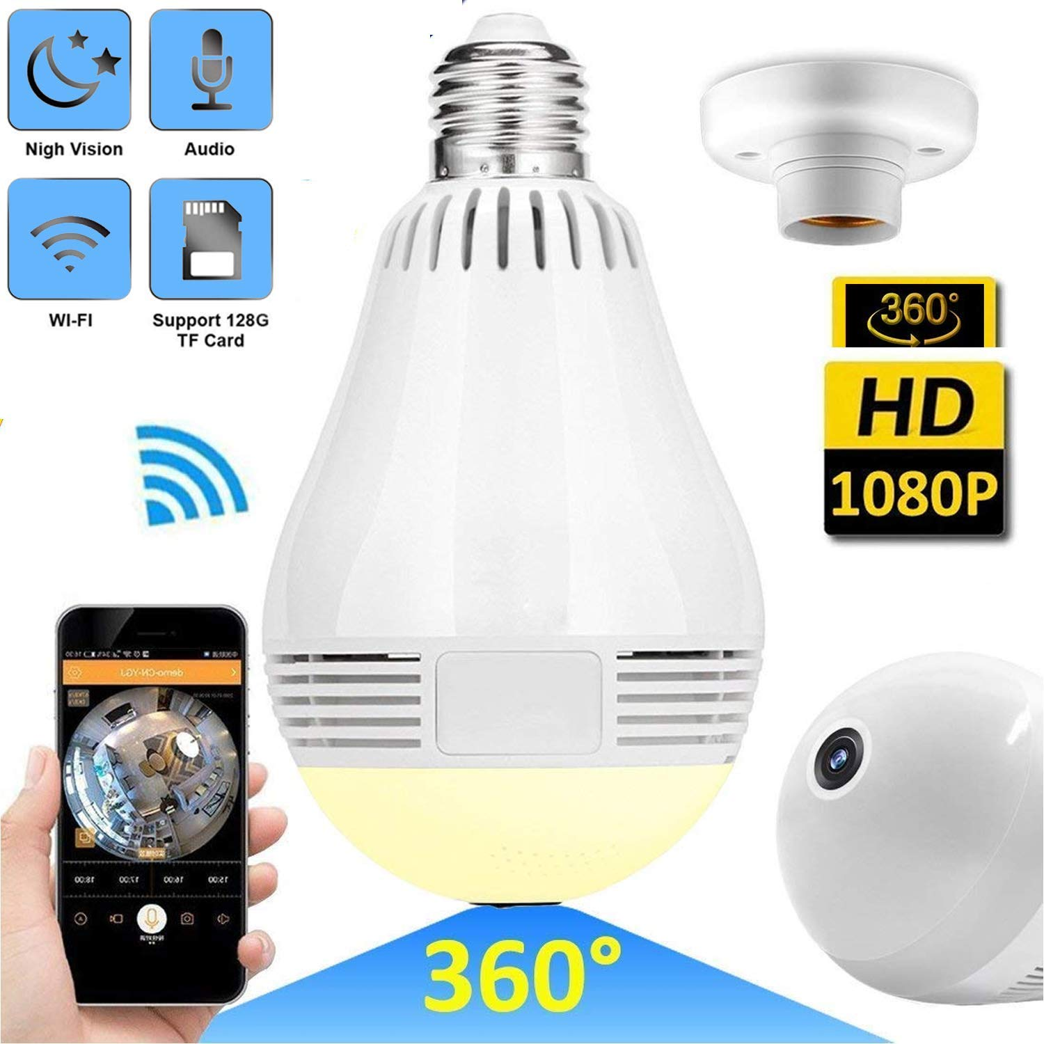 WiFi IP Camera LED Bulb Camera Wireless Hidden Camera 360 Degree Panoramic  1080P HD Fisheye for IOS Android APP Remote Home Security System for Indoor