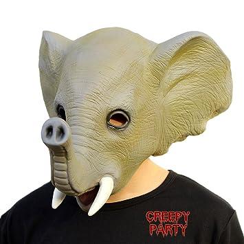 CreepyParty Máscara de Cabeza Animal de Látex de Fiesta de TrajeLujo de Halloween de Novedad Elefante