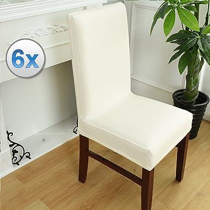 Vinteky® 6X Cubierta de Asiento Funda de Silla Comedor Spandex Poliéster Murticolor para selecionar, Ampliamente utilizado para el hogar cocina hotel ...
