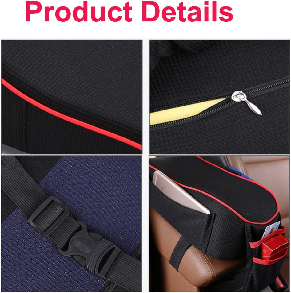 Red /& Black Memory Foam Car Armrest Cushion with Phone Holder Storage Bag Universal Fit for Most Car MLOVESIE Auto Center Console Armrest Pillow