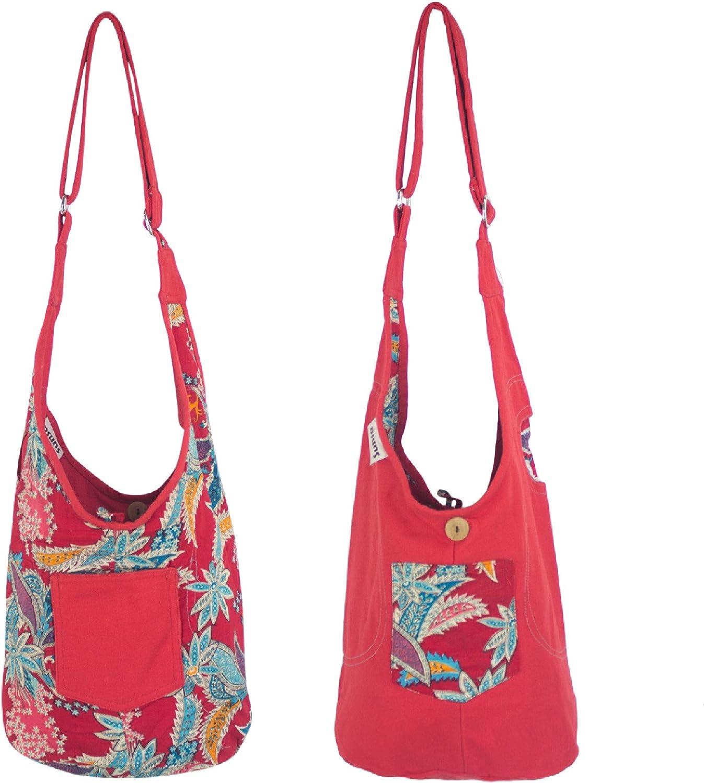 Sunsa - Bolso bandolera para niños pequeño, para guardería, cumpleaños, regalo, para niños, para hobo o o para el hombro, bolsa de tela, para niños, regalo de lona/tela, color rojo