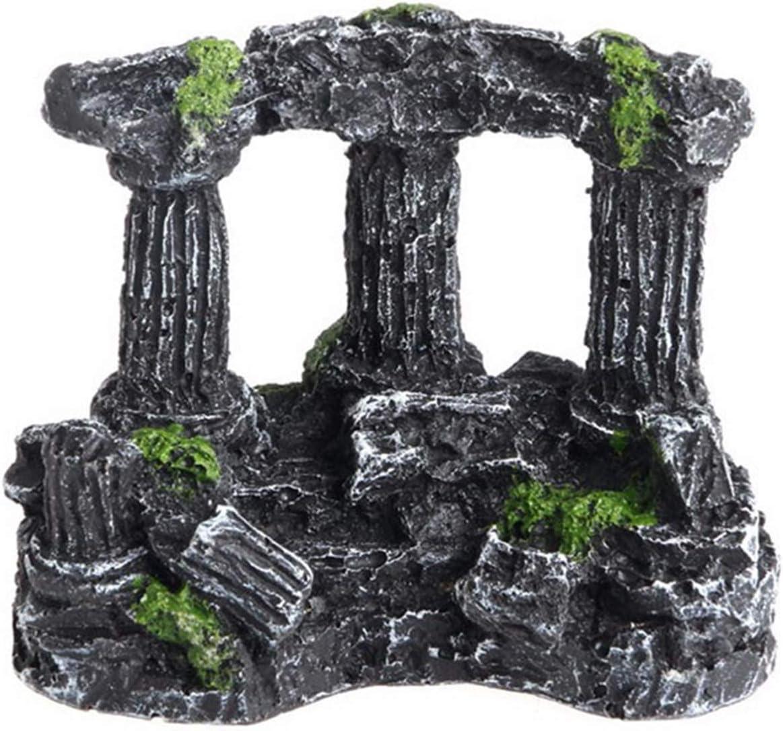 Xinapy Resin Roman Pillars Ruins Aquarium Ornament Artificial Miniatures Roman Column Decor Fish Tank Cave Decoration for Aquatic Landscape