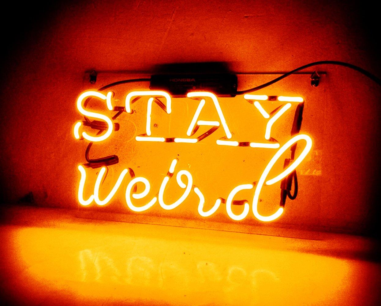 Night Light for Kids Girls Adults Neon Sign Glass Handmade Custom Gift Home Decoration Light Lamp Wall Decor - for Home, Bedroom, Hallway, Stairways, Garage, Windows, Beer, Bar - STAY weird