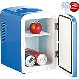 Rosenstein & Söhne Mini Kühlbox: Mini-Kühlschrank AC/DC, 12/230V 4l, mit Warmhalte-Funktion, blau (Camping-Kühlschrank)