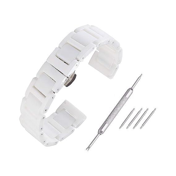 Beauty7 Kit de 14mm/16mm/18mm/20mm Cerámica Correas de Relojes para Regalo Unisex Herramientas para Relojes Mujeres Hombres Hebillas Pulsera Watchband Watch ...