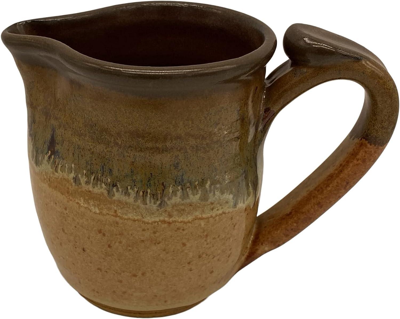 Small Handmade Ceramic Pottery Pitcher Decor - For Milk, Cream, Gravy Vintage Decorative Container Creamer - Country Home Decanter - Artistic Stoneware