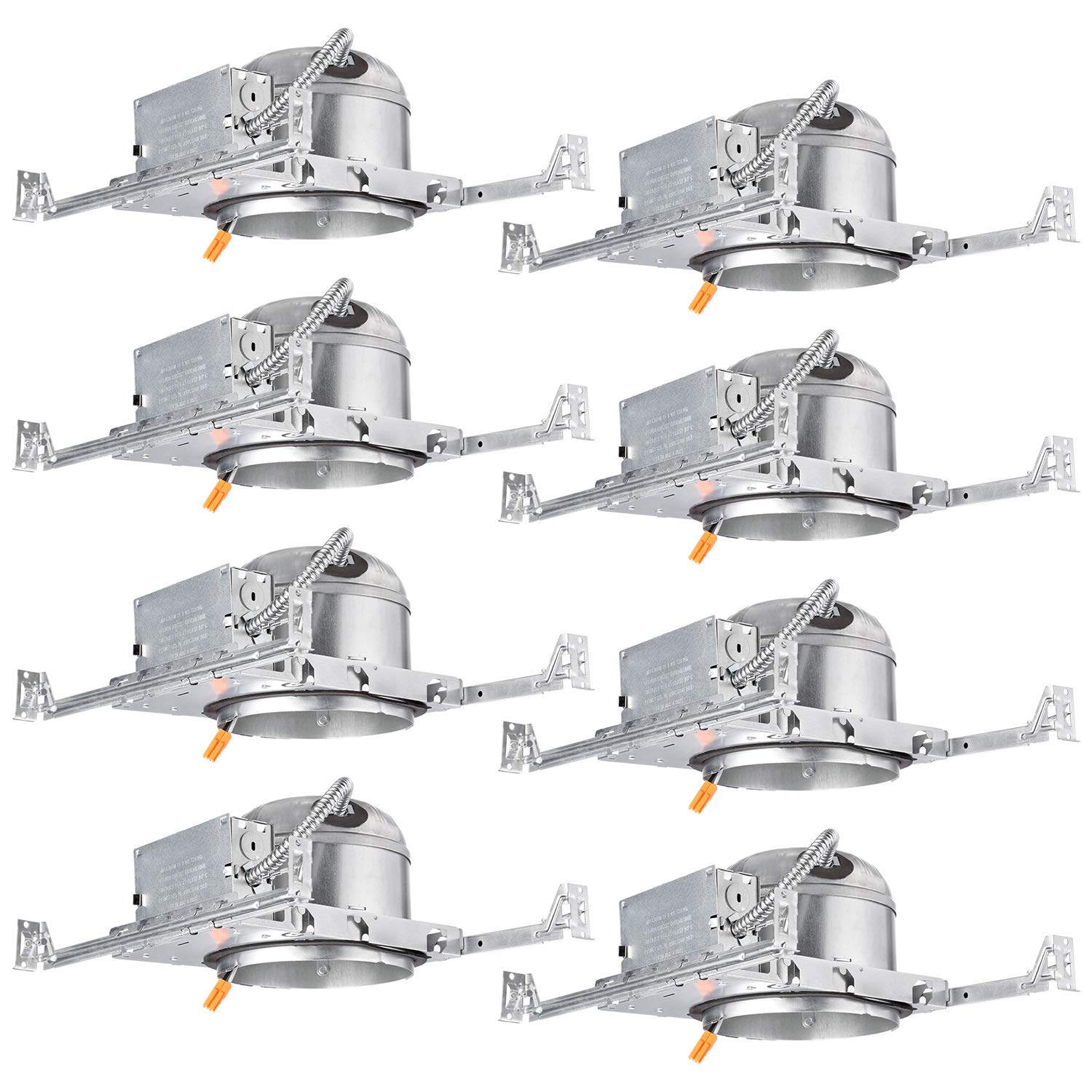 TORCHSTAR 6-Inch Shallow New Construction LED Recessed Housing, IC Rated & Air Tight Ceiling Downlight Can with Junction Box, ETL Listed Slim/Narrow New Construction Housing, TP24 Connector, Pack of 8